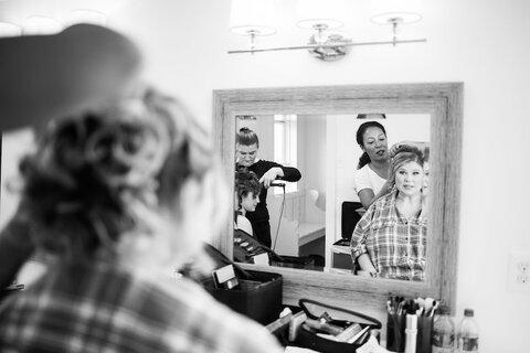 hairstylist bride getting ready fall wedding - 48 Fields   Leesburg VA