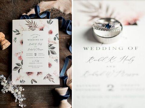 invitation and rings flat lay getting ready fall wedding - 48 Fields   Leesburg VA