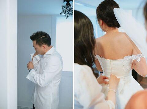 bride and groom getting ready korean american barn wedding - 48 Fields Wedding Barn | Leesburg VA