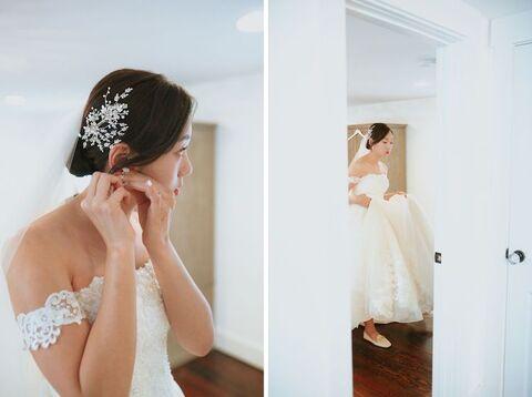 bride getting ready korean american barn wedding - 48 Fields Wedding Barn | Leesburg VA
