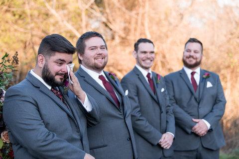 groom emotional reaction ceremony - 48 Fields Wedding Barn | Leesburg VA