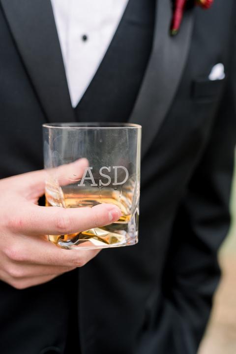 personalized highball glass groom - 48 Fields Wedding Barn | Leesburg VA
