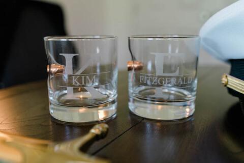 personalized bulletproof highball glass groom gift - 48 Fields Wedding Barn | Leesburg VA