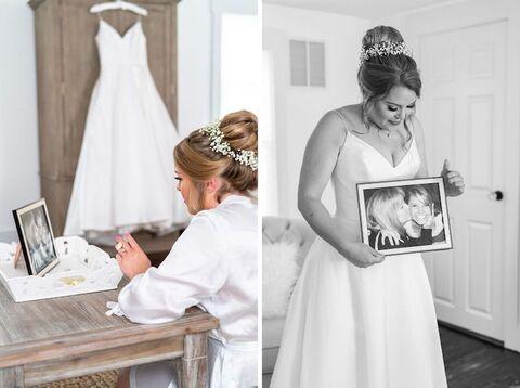 bride with photo of mom honoring loved ones - 48 Fields Wedding Barn   Leesburg VA