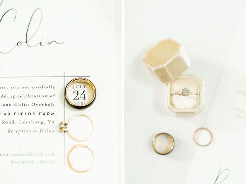 invitation flat lay Korean American summer wedding - 48 Fields Wedding Barn | Leesburg VA