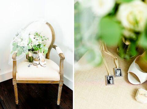 bouquet and memorial bouquet charms Korean American summer wedding - 48 Fields Wedding Barn | Leesburg VA