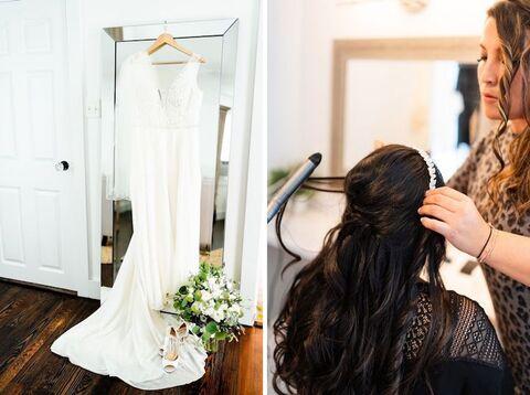 bride getting ready Korean American summer wedding - 48 Fields Wedding Barn | Leesburg VA